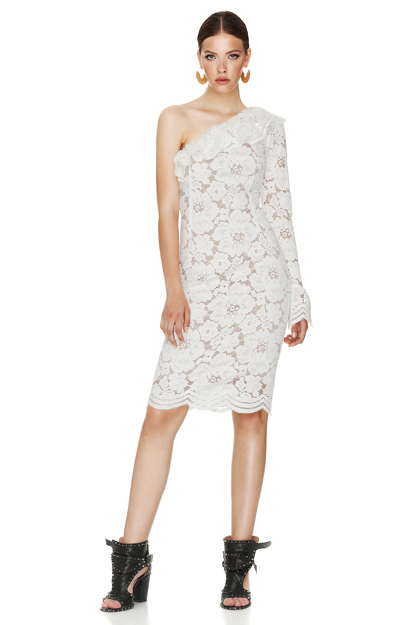 White Floral Lace Midi Dress One Shoulder