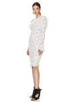 White Floral Lace Midi Dress One Shoulder