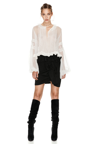 White Silk Chiffon Blouse - PNK Casual