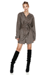 Wrap Effect Wool Mini Dress