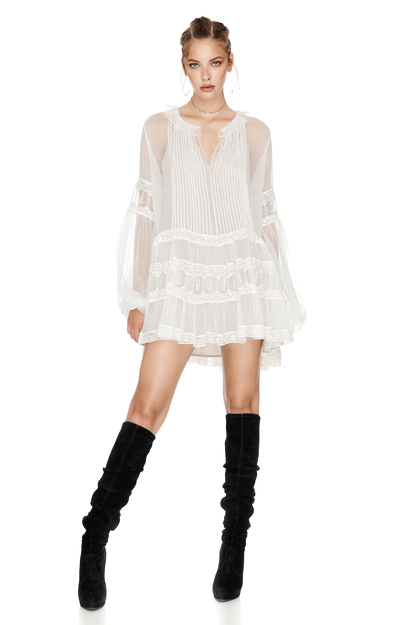 White Silk Chiffon Mini Dress