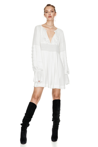 White Mini Pleated Dress - PNK Casual
