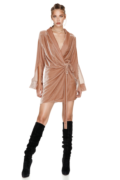 Beige Velvet Wrap Dress
