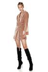 Beige Velvet Wrap Dress