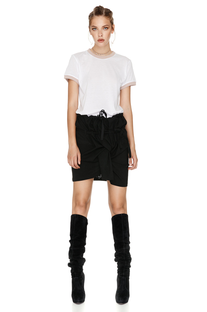Cotton T-Shirt With Beige Trim