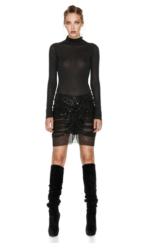 Black Sheer Sequins Skirt - PNK Casual
