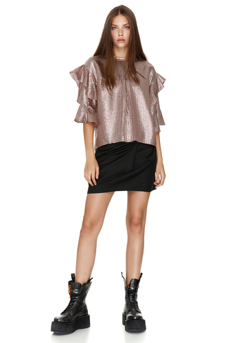 Metallic Silk Blouse With Ruffles - PNK Casual