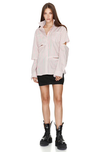 Stripe Cutout Cotton Shirt - PNK Casual