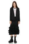 Black Ruffled Wool Midi Skirt