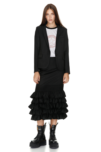 Black Ruffled Wool Midi Skirt - PNK Casual