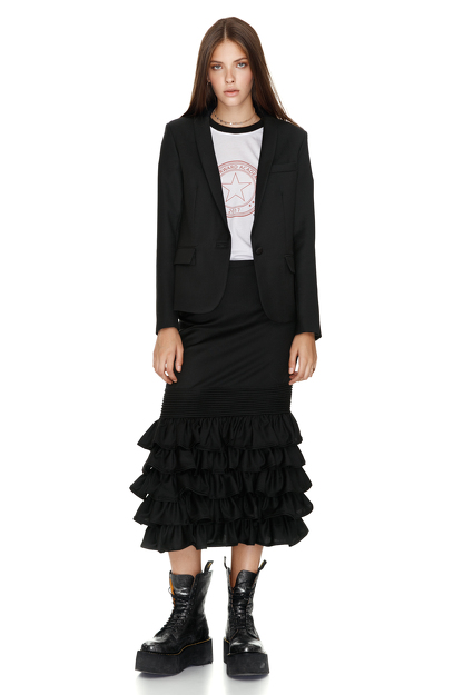 Black Ruffled Wool Midi Skirt