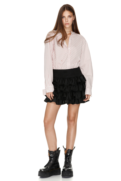 Black Ruffled Wool Mini Skirt