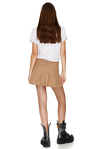Brown Pleated Poplin Mini Skirt