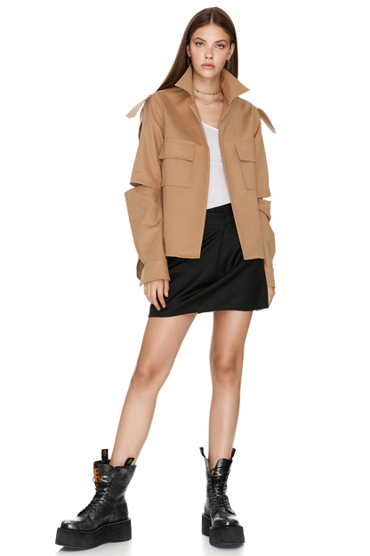 Brown Cutout Poplin Jacket