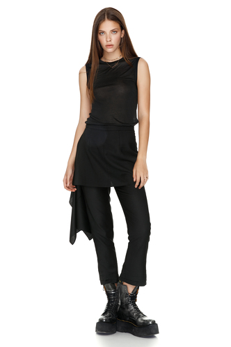 Black Wool Skirt Layered Pants - PNK Casual