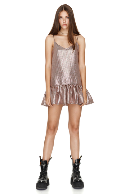 Metallic Silk Mini Dress With Straps