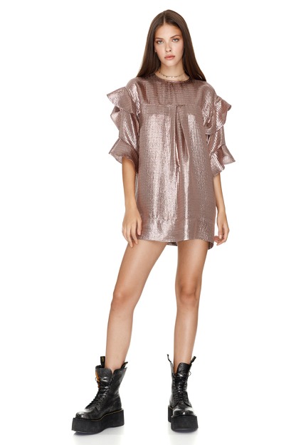 Metallic Silk Mini Dress With Ruffles