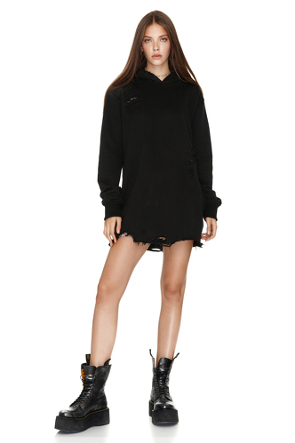 Oversize Black Hooded Sweatshirt - PNK Casual