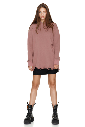 Oversize Dusty Pink Hooded Sweatshirt - PNK Casual