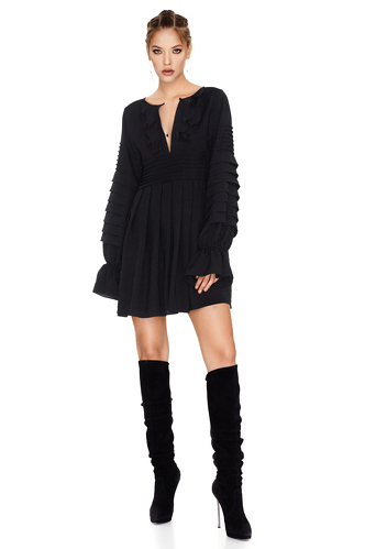 Black Mini Pleated Dress - PNK Casual
