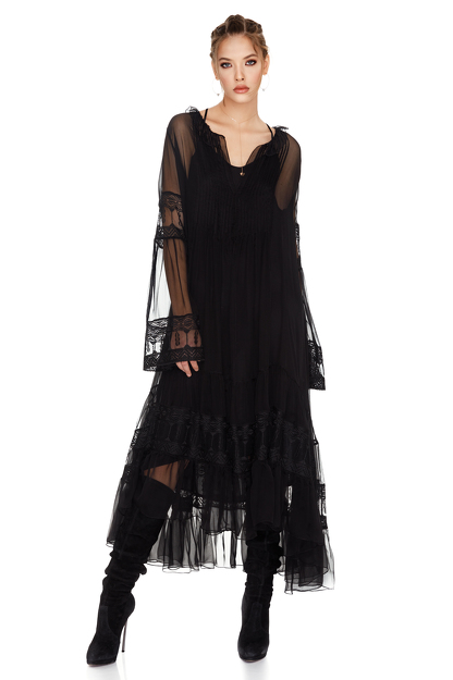 Black Silk Chiffon Midi Dress
