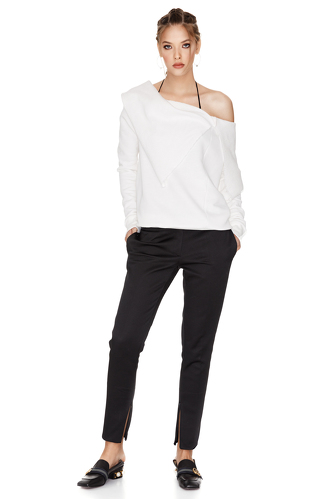 White Sweatshirt With Asymmetric Collar - PNK Casual