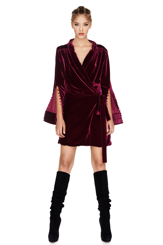 Fuchsia Velvet Wrap Dress - PNK Casual