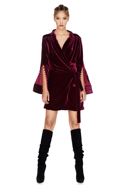 Fuchsia Velvet Wrap Dress