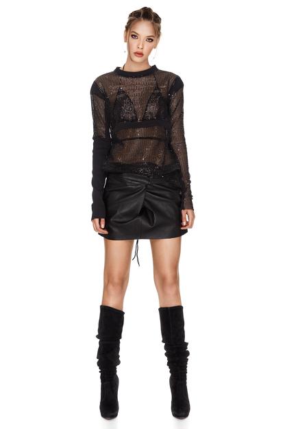 Black Sequins Blouse