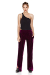 Fuchsia Velvet Pants With Side Cut