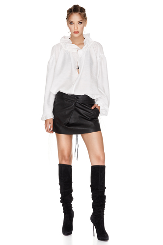 Black Leather Mini Skirt - PNK Casual