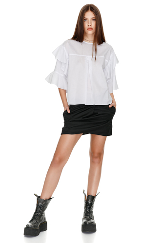 Cotton Blouse With Ruffles - PNK Casual