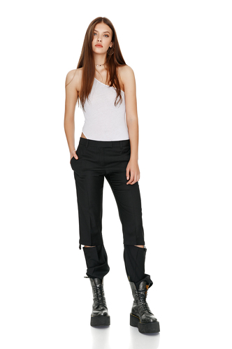 Black Cutout Wool Pants - PNK Casual