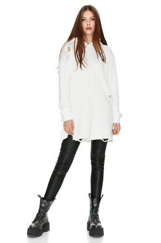 Oversize White Hooded Sweatshirt - PNK Casual