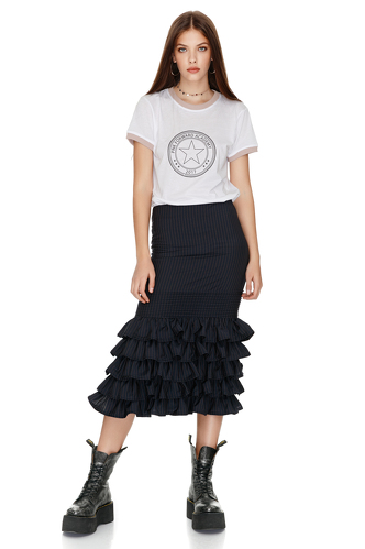 Striped Ruffled Wool Midi Skirt - PNK Casual