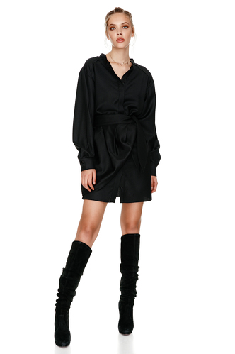 Black Wrap Effect Wool Mini Dress - PNK Casual