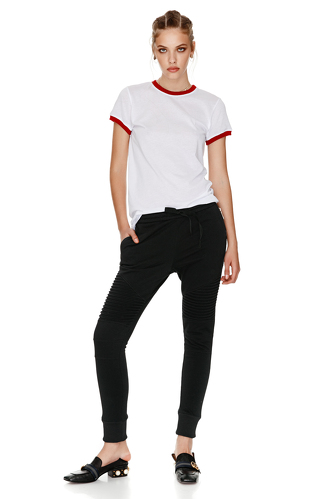 Cotton T-Shirt With Red Trim - PNK Casual