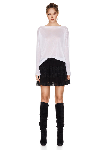 Black Silk Mini Skirt - PNK Casual