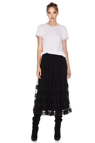 Black Silk Midi Skirt - PNK Casual