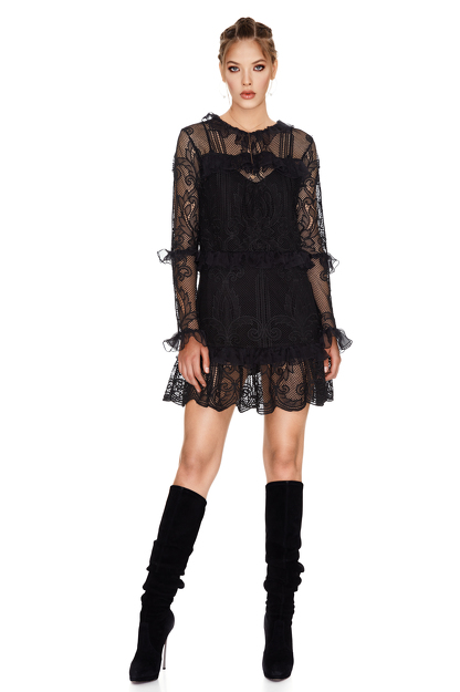 Black Crocheted Floral Lace Dress