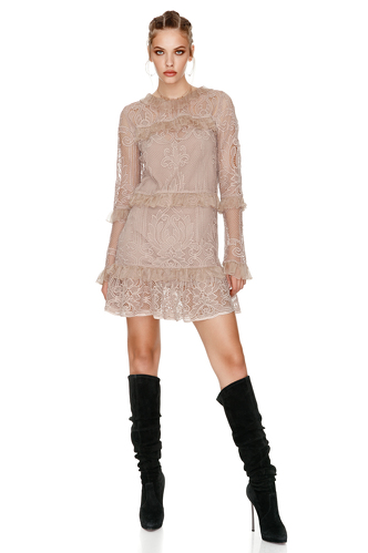 Beige Crocheted Floral Lace Dress - PNK Casual