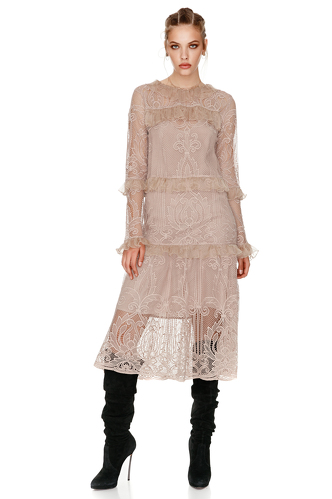 Beige Crocheted Floral Lace Midi Dress - PNK Casual