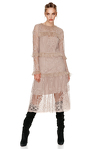 Beige Crocheted Floral Lace Midi Dress