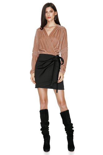 Beige/Black Mini Wrap Dress - PNK Casual
