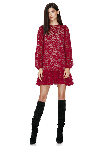Red Lace Mini Dress - PNK Casual