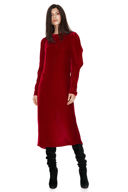 Red Backless Velvet Midi Dress