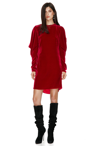 Red Backless Velvet Mini Dress - PNK Casual