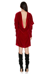 Red Backless Velvet Mini Dress