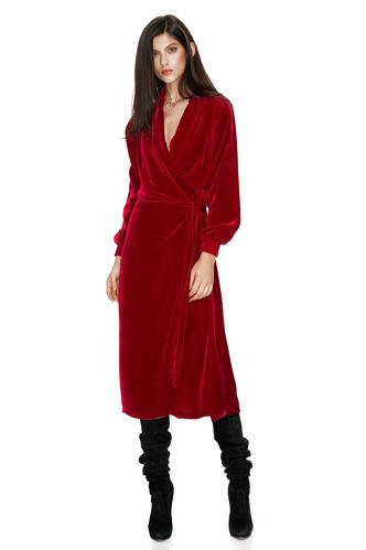 Red Velvet Wrap Dress - PNK Casual