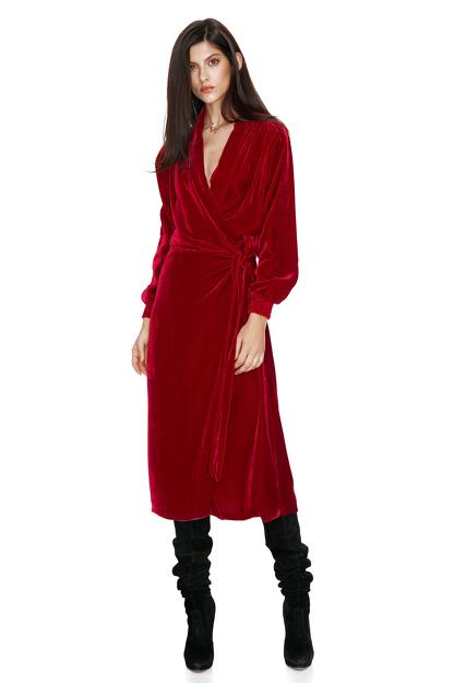 Red Velvet Wrap Dress